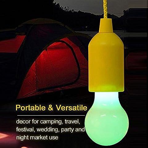 Portable LED Pull Cord light Bulb Outdoor Garden Camping Hanging LED Light Lamp Einfach zu installieren und zu verwenden, da keine Verdrahtung benötigt wird. (Gelb)