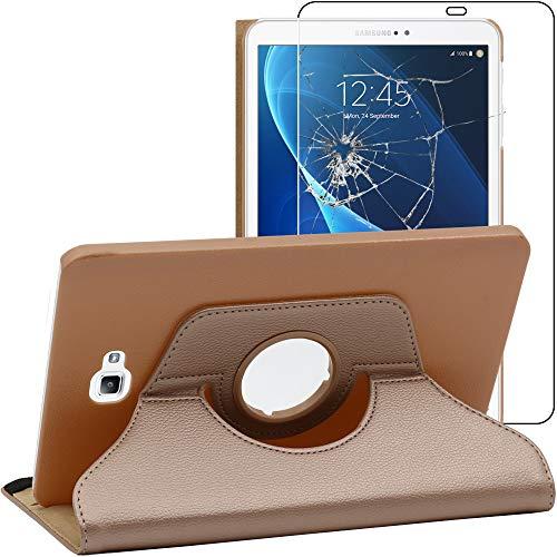 ebestStar - Compatibile Cover Samsung Galaxy Tab A6 A 10.1 (2018, 2016) T580 T585 Custodia Protezione Pelle PU Supporto Rotazione 360, Dorato + Vetro Temperato [Apparecchio: 254.2x155.3x8.2mm 10.1'']