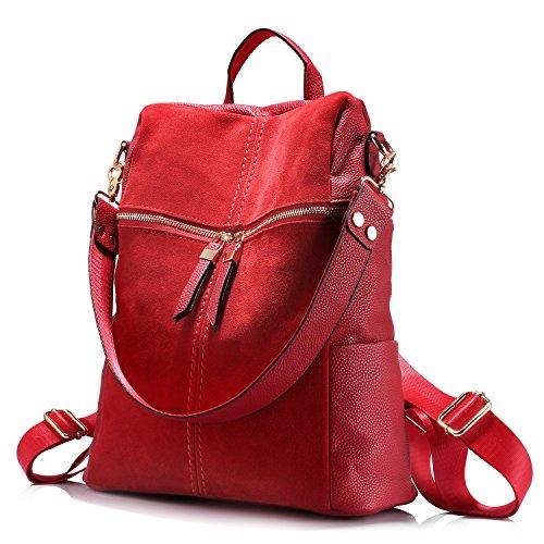 Rucksack Damen Schultertasche Handtasche Mädchen Schultasche Beiläufig Nubuk + Kunstleder Collagen-Stil Rot