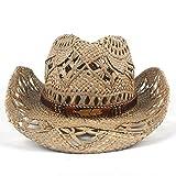 DuoShengZhTG Für Frauen Männer Stroh Mode Sommer Western Cowboy Hut Roll-up Breiter Krempe Cowgirl Jazz Mit Böhmen Band (Farbe : Schwarz, Größe : 56-58cm)