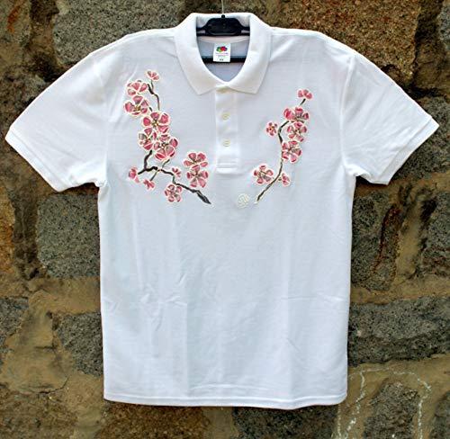 Verkauf!!!10% reduziert,HEISSER VERKAUF/weißes Polo-T-Shirt mit rosa Kirschblüte/handgemaltes Polo-T-Shirt/gemaltes Polo der Frauen/Sakura-Blüten-Blumen-Polo-T-Shirt/Strand-Hemd/Geschenk-Idee/M 65/30.