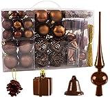 BRUBAKER Christbaumkugel Set mit Tannenzapfen, Weihnachtsglocken, Geschenken, Christbaumspitze - Christbaumschmuck - 101 Teile - Braun