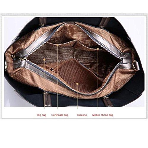 Frauen-Leder-Handtasche, Xjp Art- und Weiseeleganter Schulter-Beutel-Tote-Geldbeutel Black