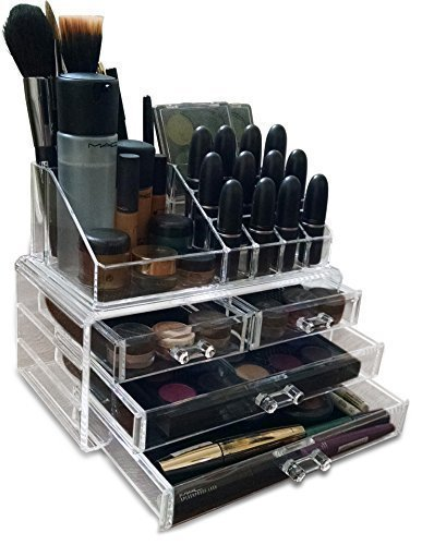 Fabricant de jusqu'à acrylique transparent/pinceaux de maquillage/bijoux/Vernis à ongles Organiseur Présentoir (avec 3 mm haute qualité acrylique). Dans un coffret cadeau.