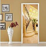 Adesivi Per Porte A Muro In 3D Stile Europeo Scale Dorate Carta Da Parati In Pvc Impermeabile Porta Decalcomanie Home Decor Poster 80X200Cm