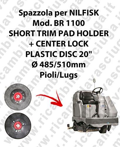 Short Trim Pad Holder + Centerlock für Bodenwischer Nilfisk Mod. BR 1100 Mod Trim