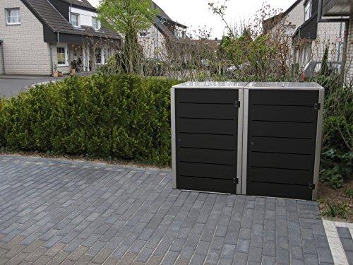 Mülltonnenbox Edelstahl, Modell Eleganza Line, 120 Liter, Zweierbox, in Granitgrau RAL 7026