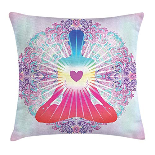 BUZRL Spiritual Throw Pillow Cushion Cover, Balance Tranquility Themed Image Mandala Man Doing Yoga Heart Figure, Decorative Square Accent Pillow Case, 18 X 18 inches, Multicolor