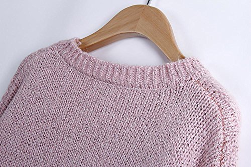 Tricoté en gros tricot cardigan en tricot pull femme lâche mince panaché manteau Pink