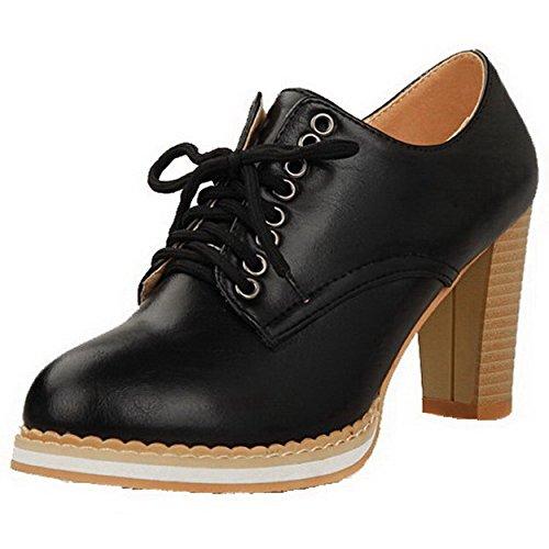 AllhqFashion Femme à Talon Haut Couleur Unie Lacet Matière Souple Rond Chaussures Légeres Noir