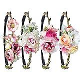 Blumen Stirnband,WolinTek Haarband Stirnbänder Krone Kopfband Blume Haarbänder mit justierbaren Elastischem Band für Hochzeit (Stlye3-4 Stück)