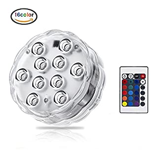 Submersible LED Light, 10 RGB LEDs, Remote Control Underwater Lights Powered by AAA Battery Home Decorations for Vase, Aquarium, Swimming Pool, Fountain Pool, Hot Tub, Fish Tank