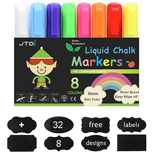 JTD Kreide Marker Liquid Chalk Pens, 6mm Reversible Bullet und Meißel Nib, Wet Wipe Erase, 32 Tafel Etiketten, Packung mit 8 Farben (Liquid Chalk Marker 3mm)