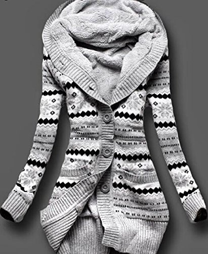 Donna Cappuccio cardigan in maglia Autunno Manica lunga pulsante Cappotto Maglieria Sottile lunghe tasca Coat Kimono top Grigio