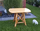 Gartentisch Coburg 100x70cm Knüppelholz Eiche Buche massiv Lasur hell lackiert