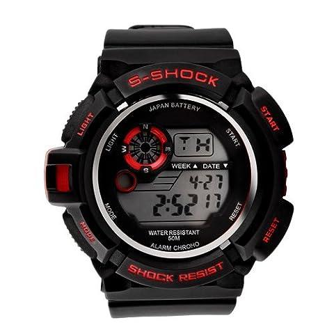 K9Q Men Waterproof Rubber LED Digital Date Alarm Sport Military Army Wrist Watch