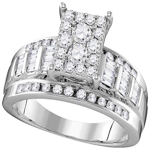 Sonia Jewels - 10 K Weißgold Rundschliff Baguetteschliff Leicht Getöntes Weiß/Crystal (J) Weißer Diamant