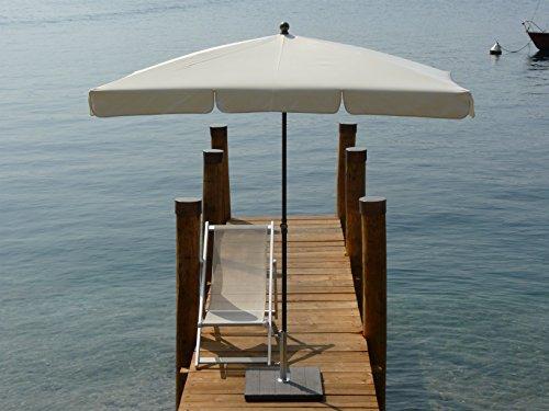 Maffei Art 115r Sonnenschirm, rechteckig cm 240x160, Polyester, wasserdicht, Stahlgestell noir sablé, Made in Italy. Farbe Natur