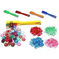 van Hoogen Profi Bingo Chips Komplett Set: 400 Stück, magnetisch & transparent | Inklusive Magnetstab | Spiele-Chips mit Magnet-Rand in verschiedenen Farben