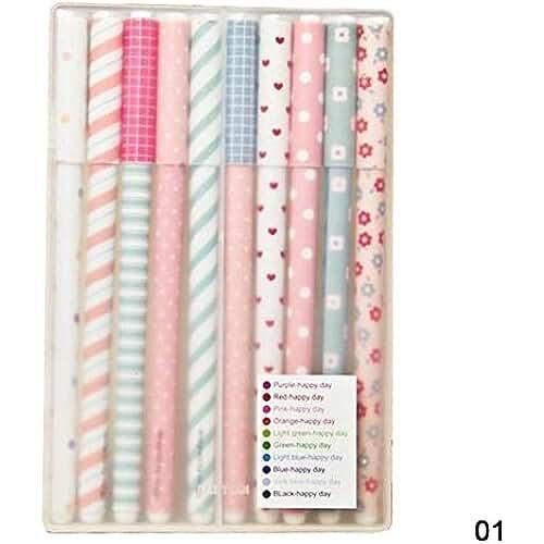 material para la escuela kawaii YAKO - Juego de bolígrafos (10 unidades), multicolor