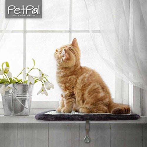 Katzenliege von PetPäl | Perfekter Fensterliegeplatz für Katzen | Fensterbank Liegeplatte & Kratzbrett für Katzen | Ideal zum kratzen, liegen & entspannen |variabel für viele Fensterbänke