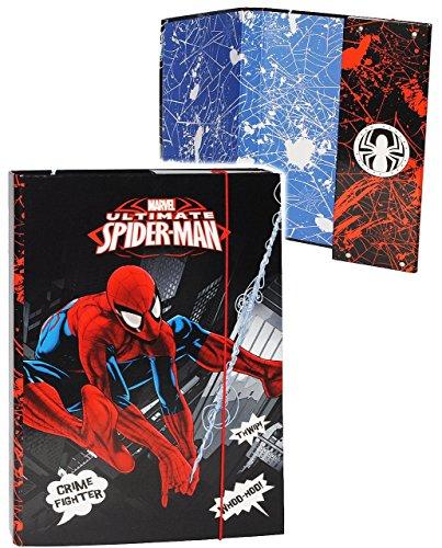 """Heftordner / Ordner A4 - """" ultimate Spider-Man """" - für Hefte, Zettel und Mappen - Gummizugmappe & Heftmappe - Mappe Ordnermappe / Ordnungsmappe Hefter Heftbox - A 4 - Kinder Jungen - Spiderman / Action"""