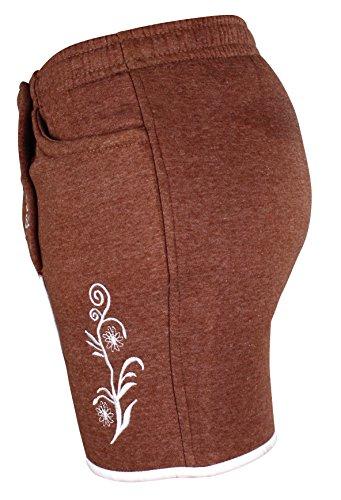 Kurze Damen Lederhosen Jogginghose Bestickt, 3x große Hosentaschen - flauschig weich - Damen Trachten-Hose für Oktoberfest oder Alltag - Bayrische Hose in Lederhosenoptik Braun