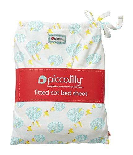 Piccalilly Windeltuch Babybett Bett Bettlaken Bio Baumwolle Spannbettlaken–Unisex Gelb und Blau Pfütze Ente Print (Bio Blauer Teich)