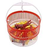 PROHEIM Wäscheklammernkorb zum Aufhängen Set mit 50 Wäscheklammern farbig sortiert extra stark