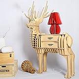 Handwerk Tabelle Deer Regal Dekoration, 3D DIY Montiert Birke Bücherregal Für Wohnzimmer Schlafzimmer Büro Restaurant Cafe Weihnachten Moderne Dekoration Kreative Holz Simulierte Deer Schubladenschrank