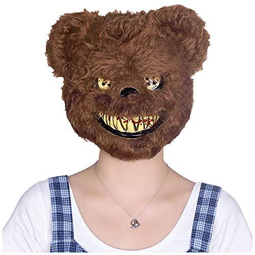 YaPin Halloween Kinder Maskerade Maske Half Face Weibliche Horror Teddybär Tier Kunststoff Party Performance Requisiten