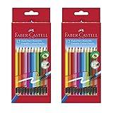 Faber-Castell 116612 Radierbare Buntstifte mit Gummitip, 12er Kartonetui (Doppelpack)