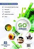 GO Inkjet 100 Blatt A5 230gsm Fotopapier Zusätzliche 5 Blatt. Sehr glänzendes weißes und wasserdichtes Fotopapier, kompatibel mit Inkjet- und Fotodrucker von GO Inkjet