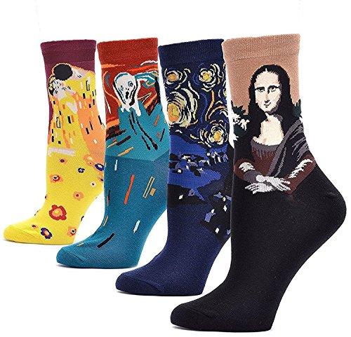 LJ calze sportive unisex, idea regalo, con dipinti retrò, calze da uomo con pittura ad olio (confezione da 4paia), Multicolour 78171