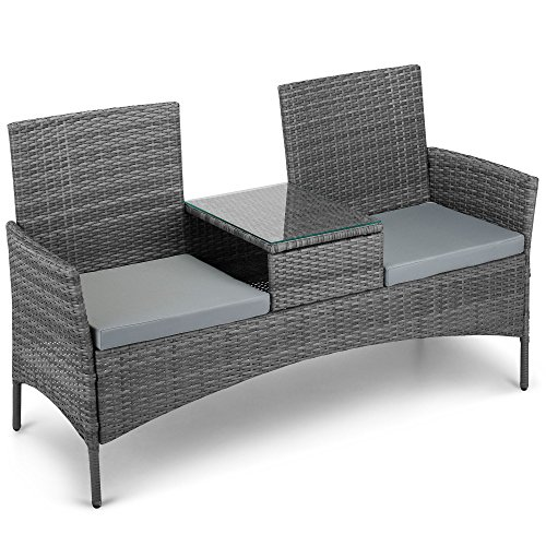 516qIDEqaLL - NO.1 GARDEN VonHaus Rattan Loveseat Bench - Outdoor Glass-topped Table & 2 Companion Seats for Garden & Patio - Grey Best price Review