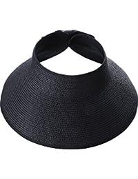 Visera de Sol Pamelas Enrollables Sombrero de Visera Ancha de Mujeres  Sombrero de Copa Abierta Gorro a1c409de046