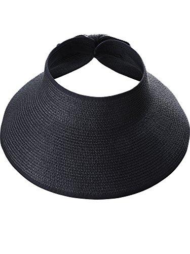 Visera de Sol Pamelas Enrollables Sombrero de Visera Ancha de Mujeres  Sombrero de Copa Abierta Gorro 0291f620feb3