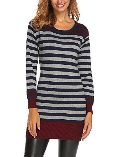 Damen Strickkleid Long Pullover Pulloverkleid Pulli Strickpullover Streifen Feinstrick Langarm Rundhals Winter Warm, Rot, Gr. XL (Feinstrick-kleid)