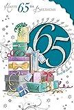 """22,9x 15,2cm große Geburtstagskarte zum 65. Geburtstag für Sie und Ihn, mit """"65Today""""-Aufschrift und einem Turm an Geschenken"""