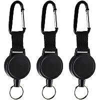 Kuuqa - 3 piezas para llaveros retráctiles de alta resistencia Logotipo retráctil - Clip para carrete con 65 cm / 25 pulgadas de cuerda de acero, negra