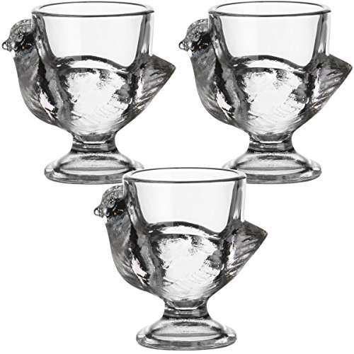 Promobo - Set Lot 3 Coquetiers Forme Poule Luminarc Aspect Cristal En Verre