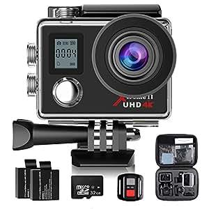 Campark 4K Action Camera Dual Screen WIFI Ultra HD 16MP Impermeabile Sport Camera 170 ° Grandangolare con 32GB Classe 10 Scheda di memoria Telecomando due 1050mAh Batterie