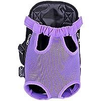 Kaisir Transportín mochila, ajustable para mascotas gato frontal perro bolsa mochila viaje, piernas hacia fuera, fácil ajuste para viajar senderismo Camping, púrpura, gran tamaño