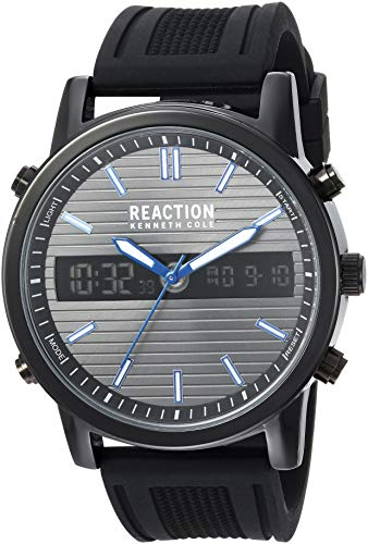 Kenneth Cole REACTION - Reloj de Cuarzo y Silicona para Hombre, Color Plateado (Modelo: RK50549002)