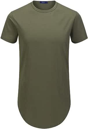 AIYINO Men's Plain Crew Neck T-Shirt Hipster Hip Hop Short Sleeve T-Shirt with Zipper Trim