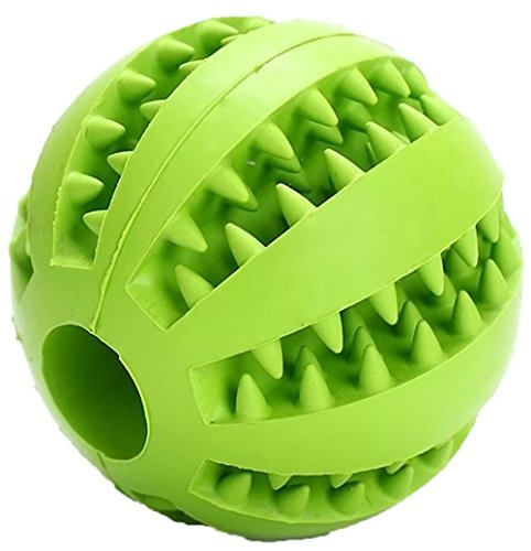 Baby Pet Ainimo Dog Ball Toy Nontoxic Bite Resistant Rubber Toy Balls Dog Pet Chew Training Tooth Cleaning Ball 2.7in (Green)