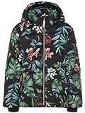 NAME IT Kids Mädchen Jacke, Anorak, Winterjacke May mit Blumenmuster in Black, Größe:164