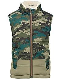 M&Co Boys Khaki Camouflage Print Fleece Lining Zip Through Fastening Gilet