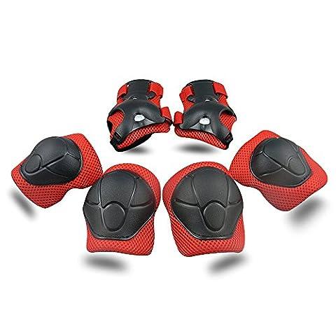ABS Protections de Skateboard Kneepads Genouillère Coudières Protège Poignet Sport Equipement Patinage 6 PCS pour enfants - rouge