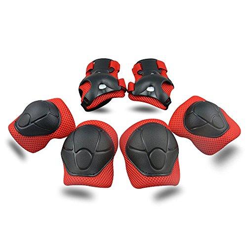 SKL ABS Protections de Skateboard Genouillère Coudières Protège Poignet Sport Equipement Patinage 6 PCS pour Enfants - Rouge